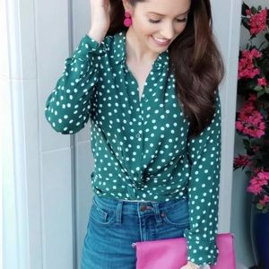 ABERCROMBIE & FITCH Polka Dot Cropped Button Shirt